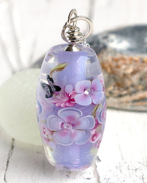Lavender Art Glass Lampwork Bead necklace with butterfly
