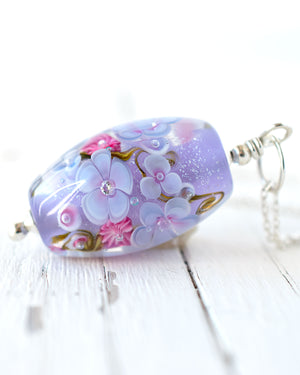 Lavender Floral Art Glass Bead Necklace with cubic zirconia