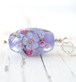 Lavender Floral Art Glass Bead Necklace with cubic zirconia view 2