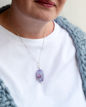 Lavender Floral Art Glass Bead Necklace with cubic zirconia - wearing