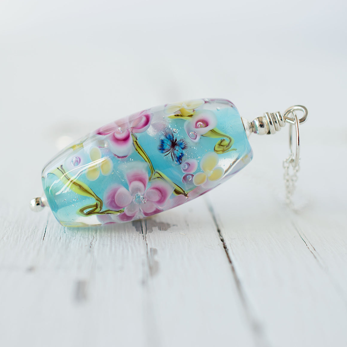 Summer - Blossom Butterfly Necklace in Turquoise
