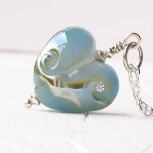 blue translucent glass heart Necklace with cubic zirconia