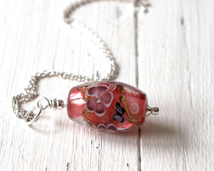 Pink Lampwork Glass Bead Pendant with butterfly