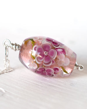 Pale pink floral necklace view 2
