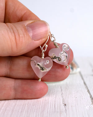 Small rose pink art glass heart earrings with cubic zirconia by Judith JohnstonSmall rose pink art glass heart earrings with cubic zirconia by Judith Johnston