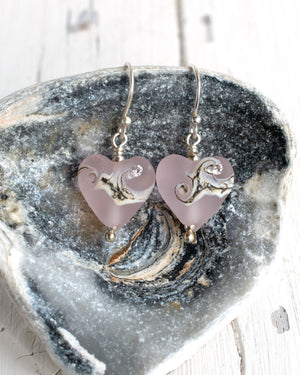 Small rose pink art glass heart earrings with cubic zirconia by Judith Johnston