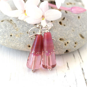 Pink Glass Bead Earrings