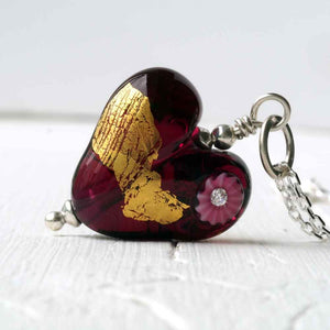 Amethyst glass heart burnished with fine gold necklace