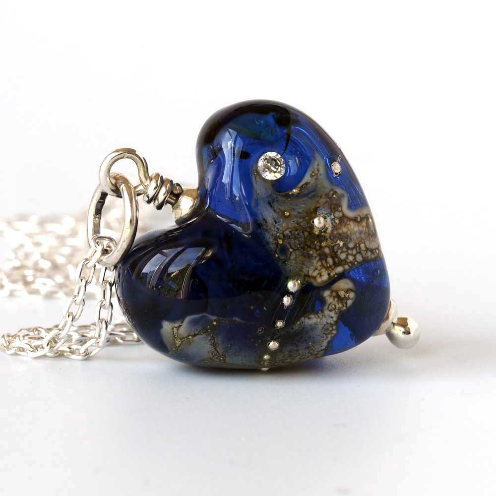Indigo Lampwork Glass Heart Necklace