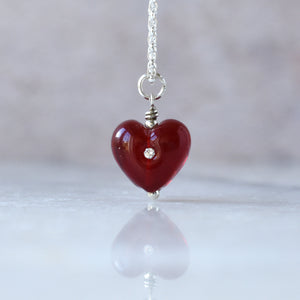 Ruby red glass heart choker