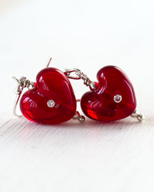 Ruby red art glass heart earrings