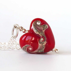 Red Heart Glass Pendant