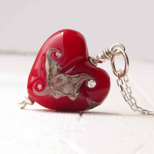 Red Lampwork Glass Heart Necklace with organic pattern and cubic zirconia detail by Judith Johnston