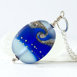 Royal blue frosted lampwork glass pendant with cubic zirconia