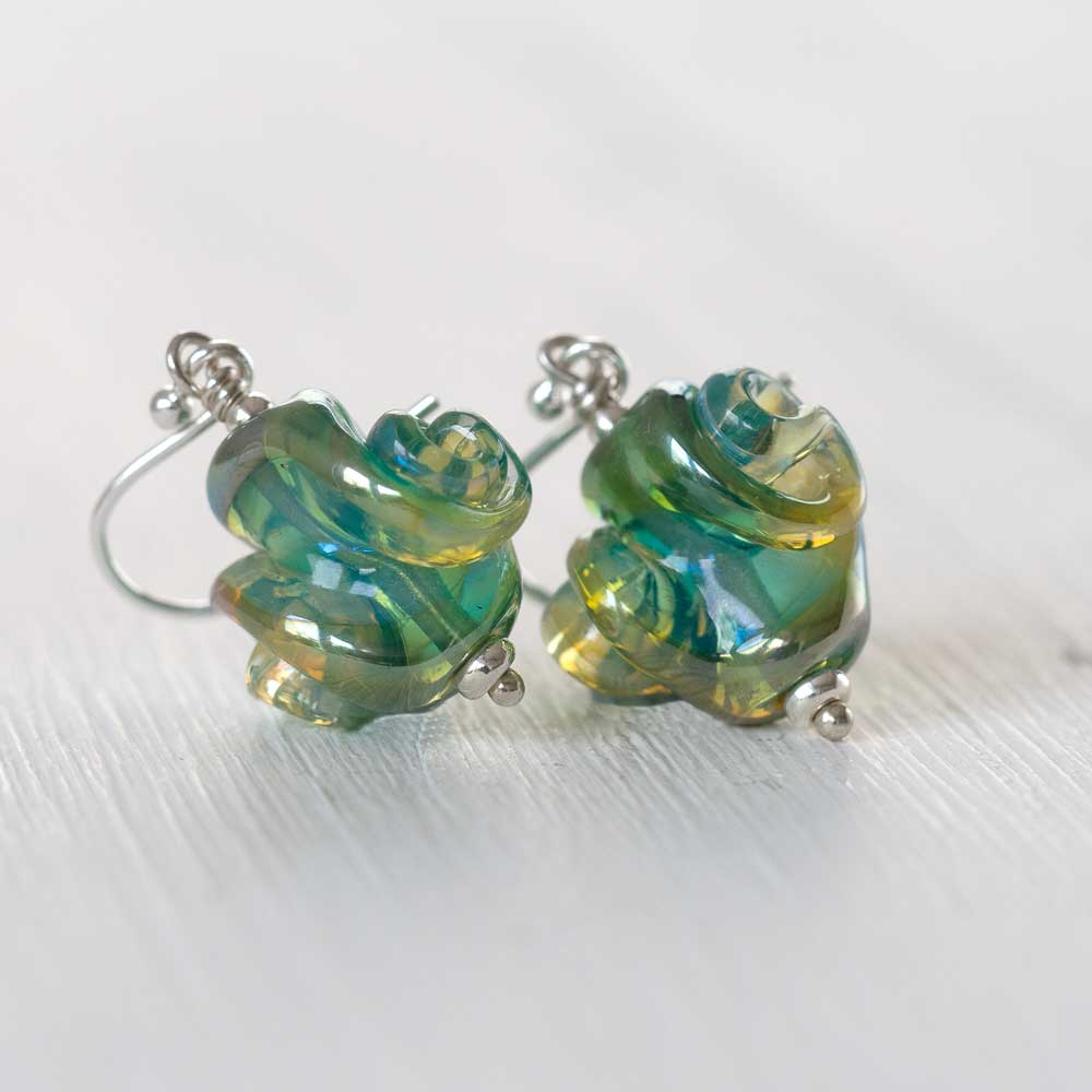 Seafoam artisan glass earrings - main