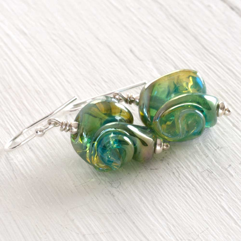 Seafoam artisan glass earrings side