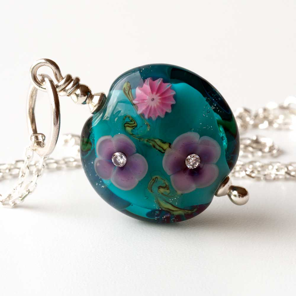 Flora Necklace  in Teal