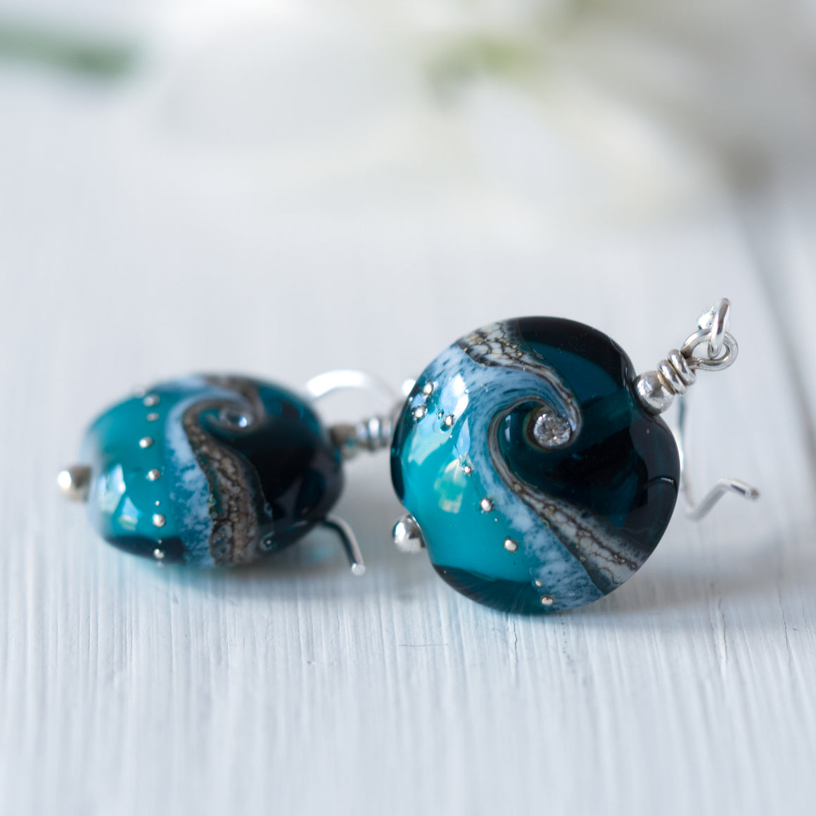 Jewel Earrings - Teal Sparkle