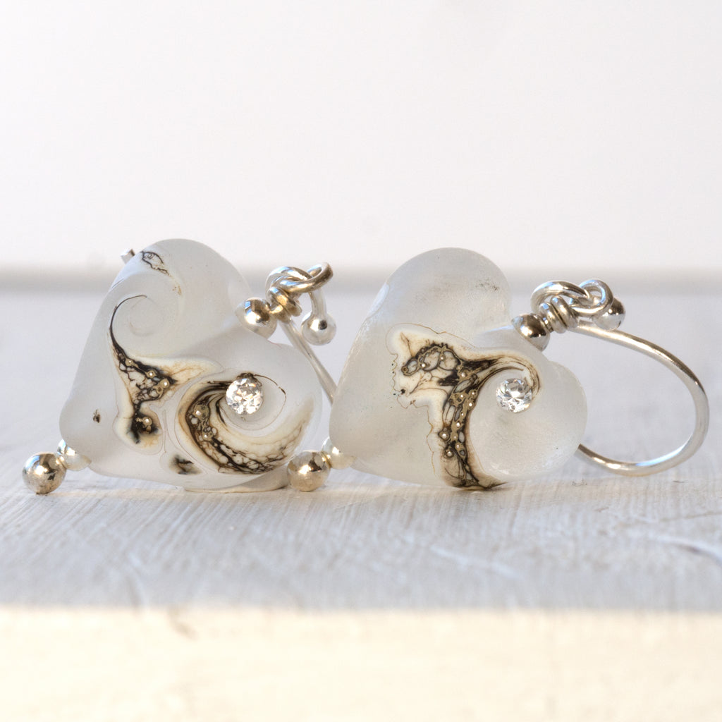 Heart Earrings - White Frost