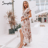 summer dress Ruffle split sash sexy long dress