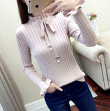Sweater pullovers ruffled collar Long Sleeve