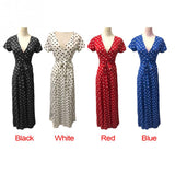 Summer Ladies Long Dress Red White