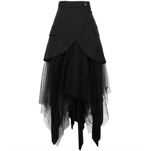 TWOTWINSTYLE Asymmetrical Patchwork Mesh Skirt For Women