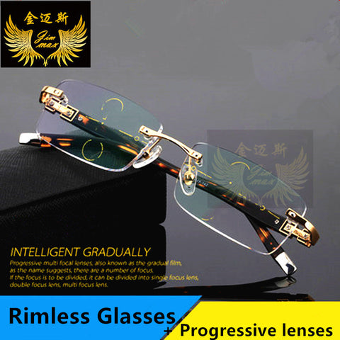 Fashion Rimless Men Style Titanium Alloy Progressive glases men