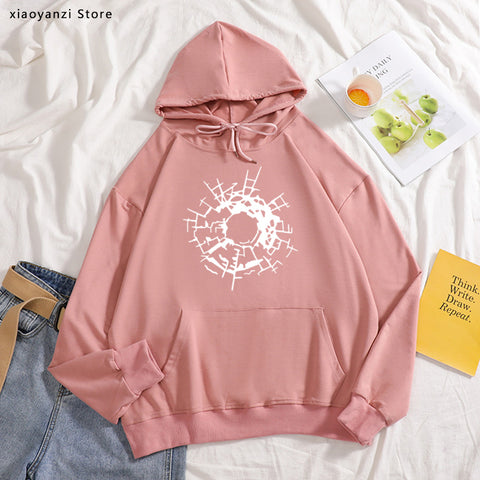 Bullet Holes Glass Art is here women hoodies Fashion Funny Cotton