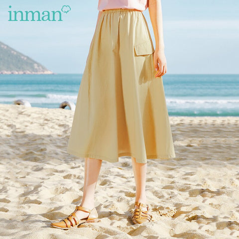 INMAN 2020 New Arrival Vintage Elastic Waist Concise Style