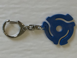 Blue 45rpm Record Adapter Key Chain-Lobster Claw Style