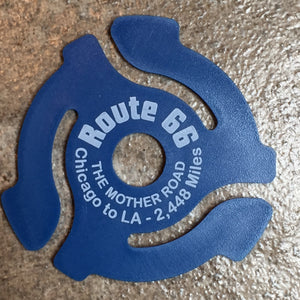 "Blue ""ROUTE 66"" 45rpm Record Insert Adapter"