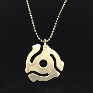 Unisex Brushed Metal Silver Tone 45rpm Record Adapter pendant necklace