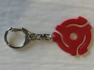 Red 45rpm Record Adapter Key Chain-Lobster Claw Style