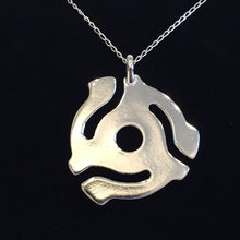 Load image into Gallery viewer, SILVER PLATED 45RPM RECORD ADAPTER PENDANT WITH SILVER NECKLACE