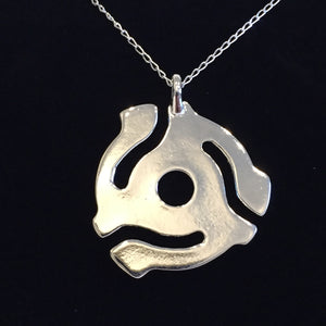 SILVER PLATED 45RPM RECORD ADAPTER PENDANT WITH SILVER NECKLACE