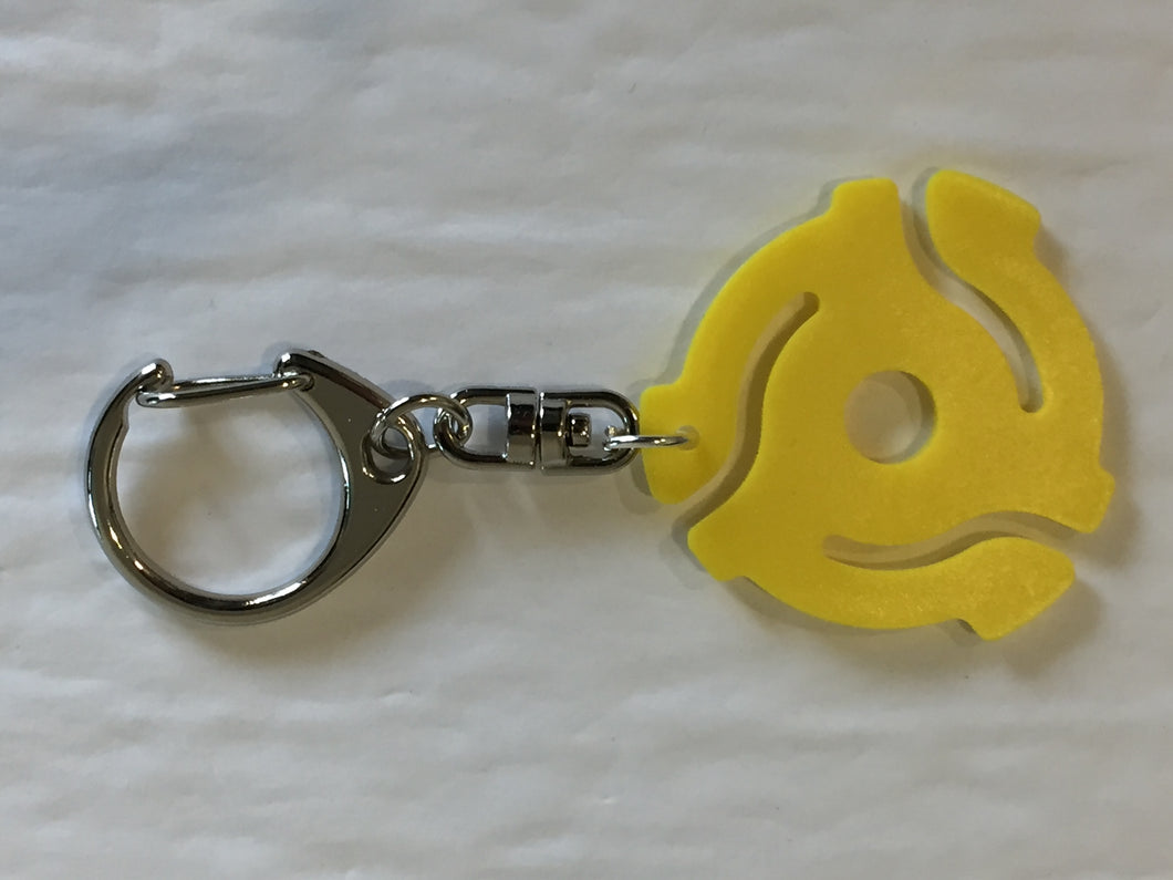 Yellow 45rpm Record Adapter Key Chain-Lobster Claw Style