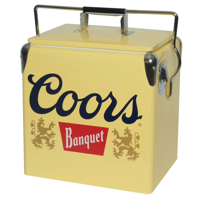 Koolatron Coors Banquet 14 Quarts (13 Liters) 18 Can Ice Chest with Bottle Opener - Yellow - CoolCatCoolers