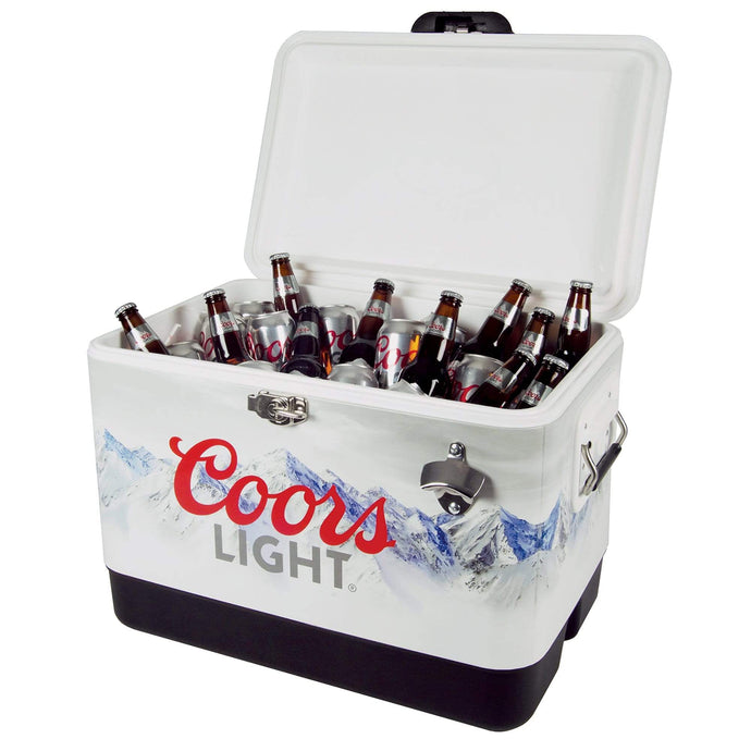 Koolatron Coors Light 54 Quarts (51 Liters) 85 Can Stainless Steel Ice Chest with Bottle Opener - Silver - CoolCatCoolers