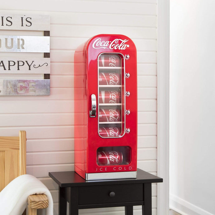 Koolatron Coca-Cola 0.64 Cubic Foot (18 Liters) 10 Can AC/DC Retro Vending Electric Coolers - Red - CoolCatCoolers
