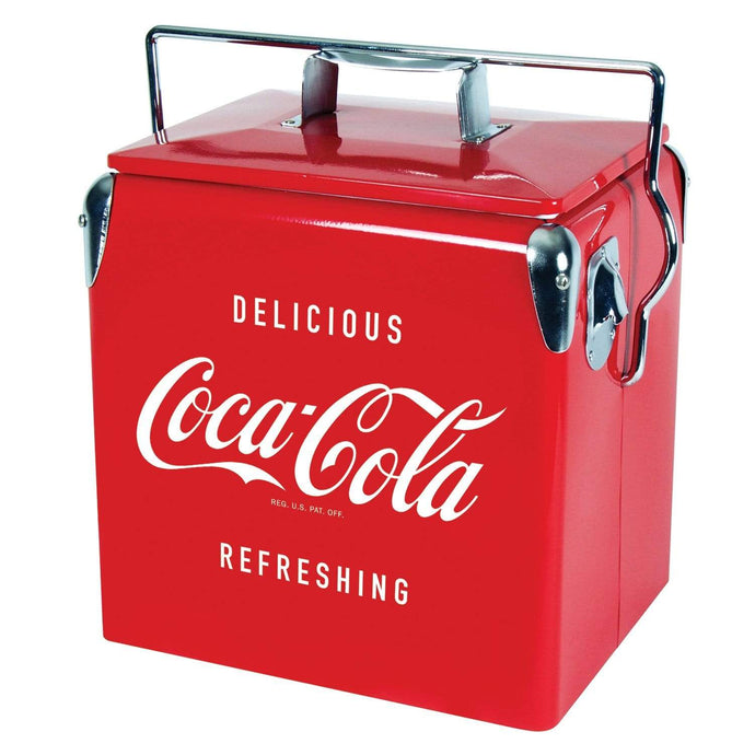 Koolatron Coca-Cola 14 Quarts (13 Liters) 18 Can Portable Vintage Ice Chest with Bottle Opener - Red - CoolCatCoolers