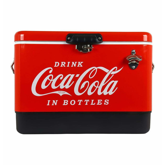 Koolatron Coca-Cola  54 Quarts (51 Liters) 85 Can Stainless Steel Ice Chest with Bottle Opener - Red - CoolCatCoolers