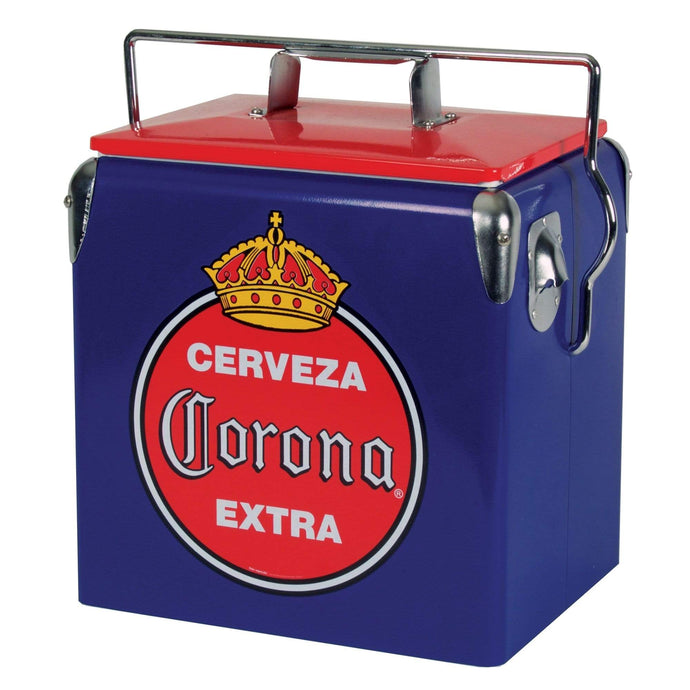 Koolatron Corona 14 Quarts (13 Liters) 18 Can Stainless Steel Retro Ice Chest with Bottle Opener - Blue - CoolCatCoolers