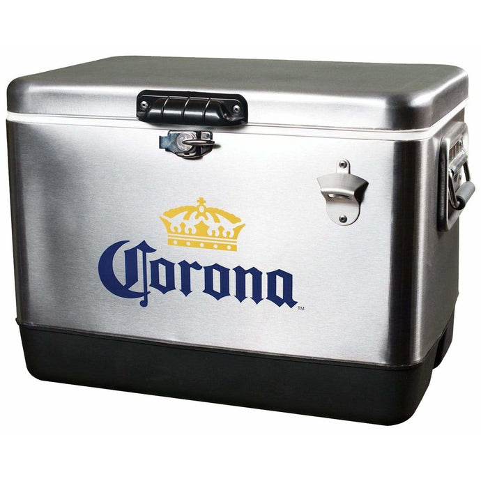 Koolatron Corona 54 Quarts (51 Liters) 85 Can Stainless Steel Ice Chest with Bottle Opener - Silver - CoolCatCoolers