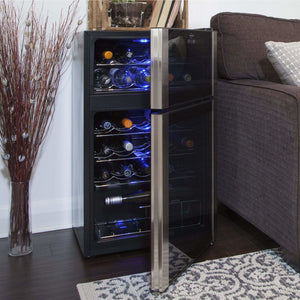 Koolatron 29 Bottle Dual Zone Electric Wine Cooler with Digital Temperature Controls - CoolCatCoolers