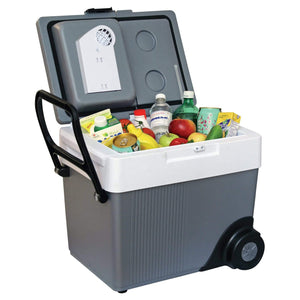 Koolatron 33 Quarts (31 Liters) 12V Kargo Electric Cooler/Warmer with Built-in Handle and Wheels - Gray - CoolCatCoolers