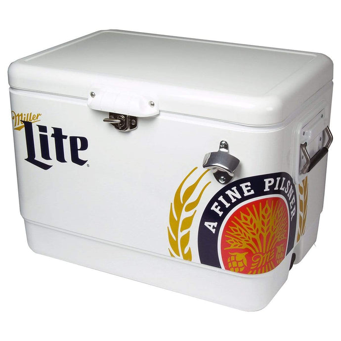 Koolatron Miller Lite 54 Quarts (51 Liters) 85 Can Stainless Steel Ice Chest with Bottle Opener - Silver - CoolCatCoolers