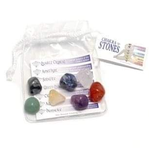Chakra stones in pouch with information sheet