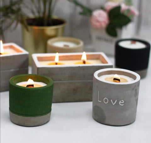 Soy wax woodwick candles in concrete containers