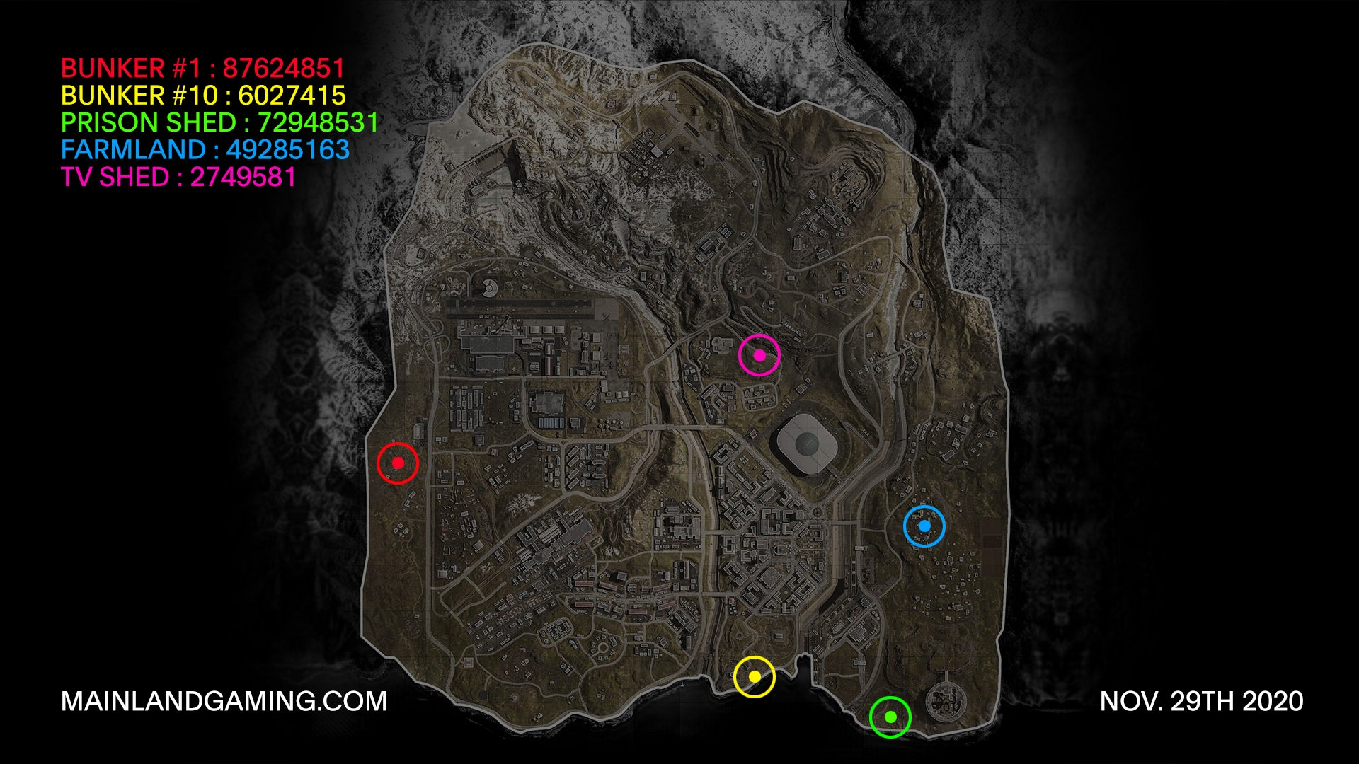 warzone bunker codes map